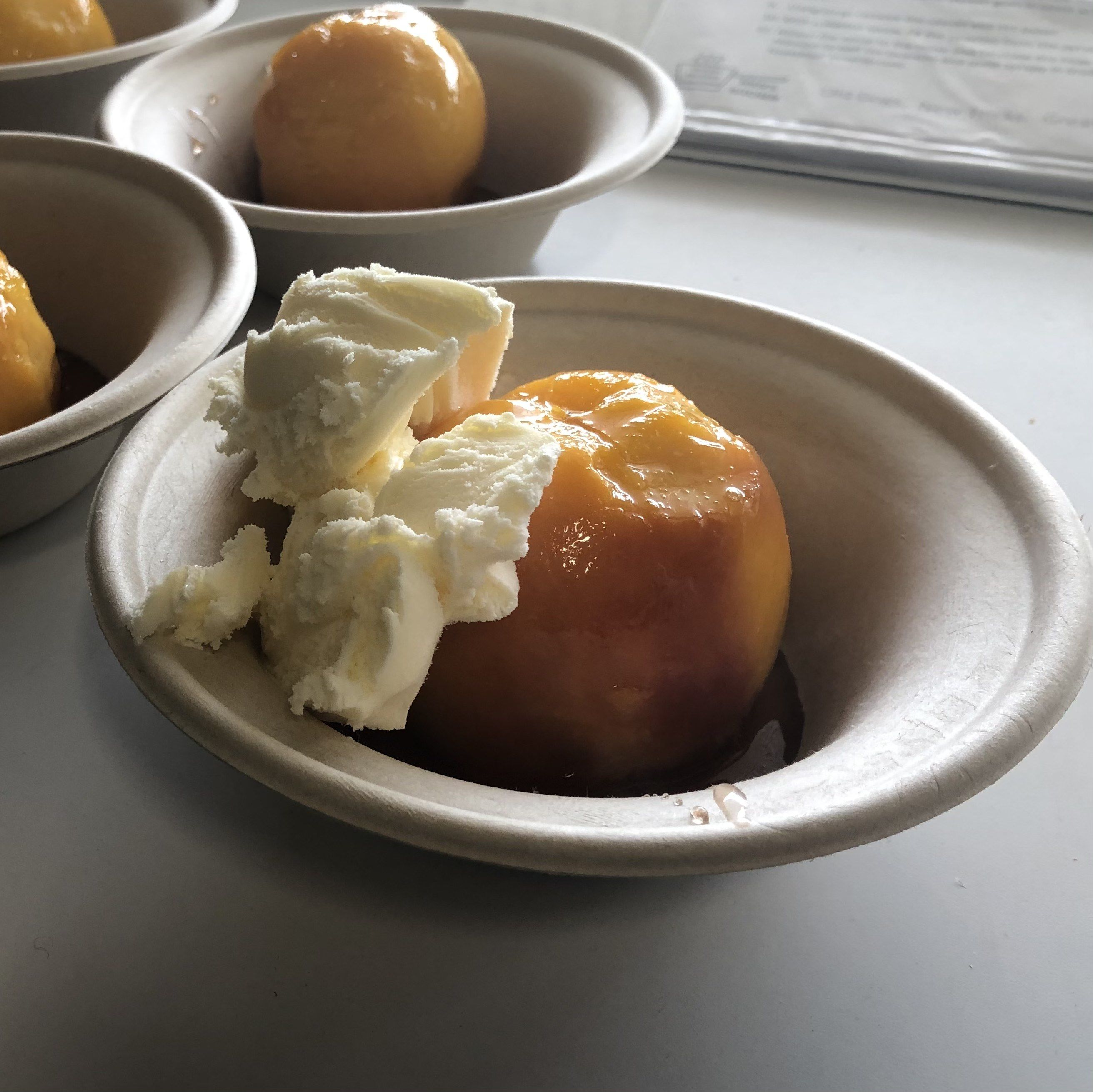 Curl Curl poached peaches and ice cream